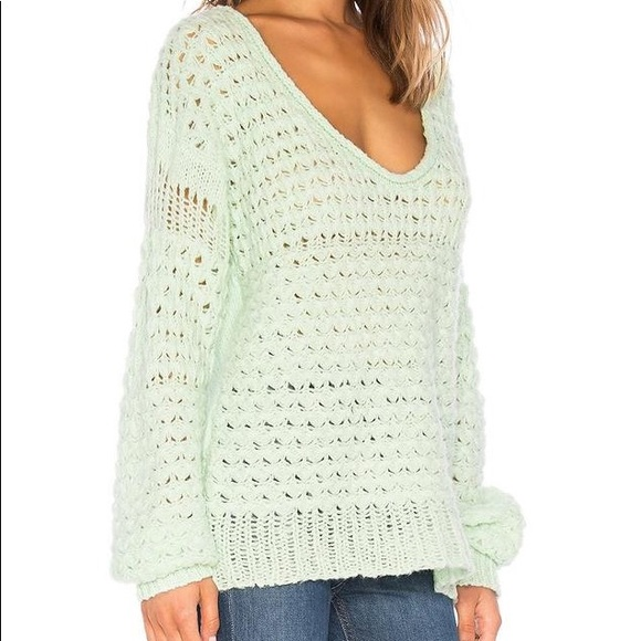 Free people crashing waves knit sweater mint